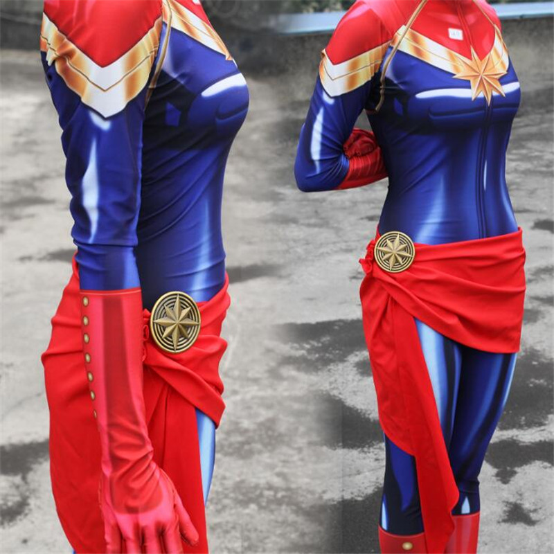 Hot New Anime Movie The Avengers Captain Marvel Cosplay Costumes Tights Accessories Zentai Lady Women Cosplay Clothing Customize