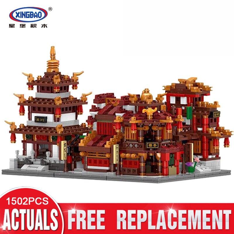 XingBao 01102 1502Pcs Zhong Hua Street Series 4 in 1 The Teahouse Library Cloth House Wangjiang Tower Set Building Blocks toys