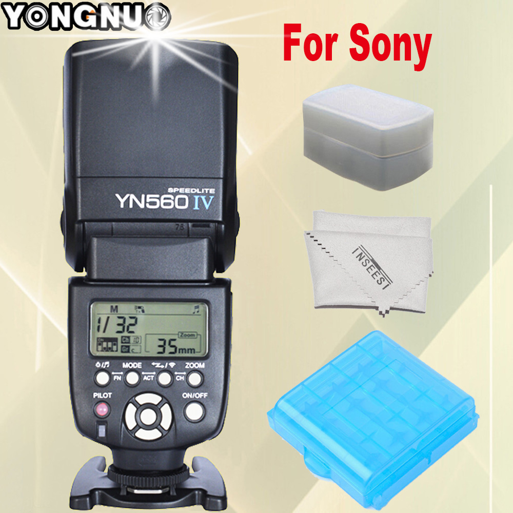 YONGNUO YN560IV YN560 IV YN-560 IV For Sony A99 A58 A6000 A3000 A7s A7 NEX-6 A6300 A7r A7r II DSLR Camera Speedlite Flash black sliver 25mm f 1 8 hd mc manual focus lens for sony e nex mount camera a7 a7r a7s a7rii a7sii a6300 a6000 nex 7