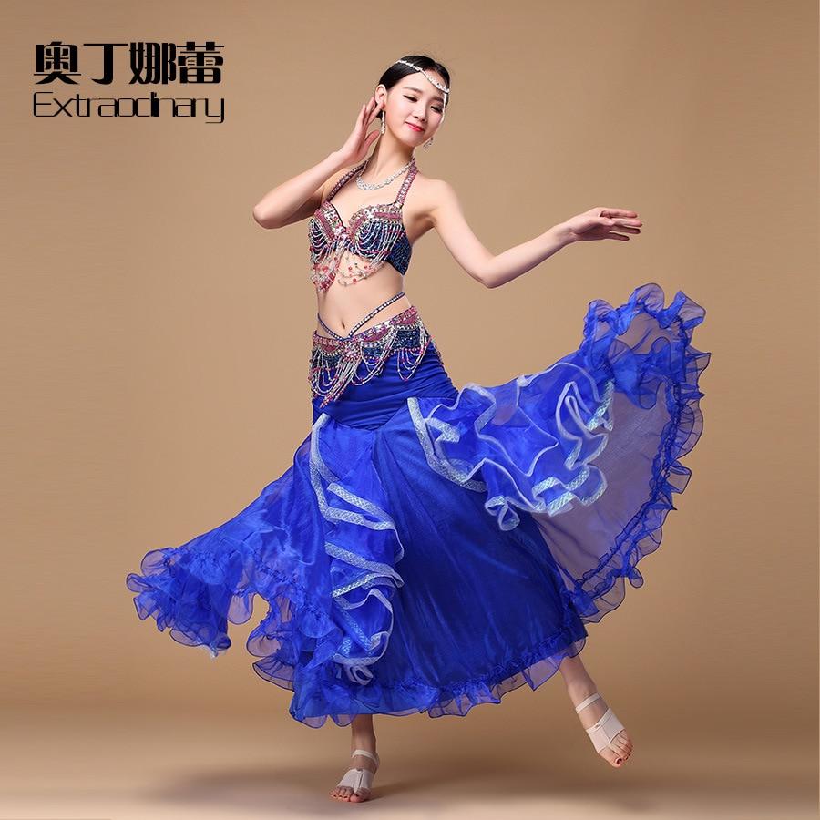 3e7dd0c59 Best Price Performance Women Dancewear Professional 3pcs Outfit Bra+Belt +Skirt  Oriental Beads Costume Belly Dance WJ00194+Q01131 For Sale at AliExpress