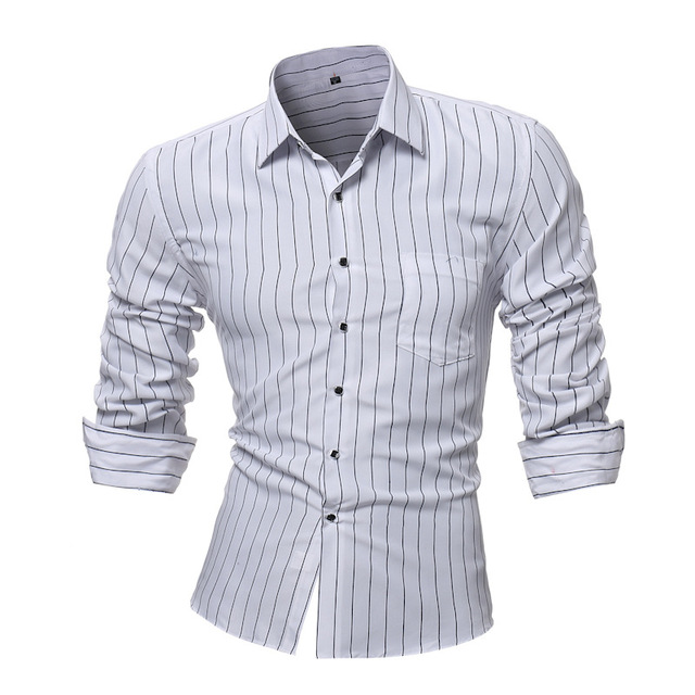 35dd3756cfd Brand 2018 Fashion Male Shirt Black And White Stripes Long-Sleeves Tops  Business Colour Stripe Mens Dress Shirts Slim L-4XL