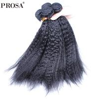 4 Bundles Kinky Straight Brazilian Virgin Hair Weave Bundles Deal 100% Human Hair Extension Products Natural Color Prosa