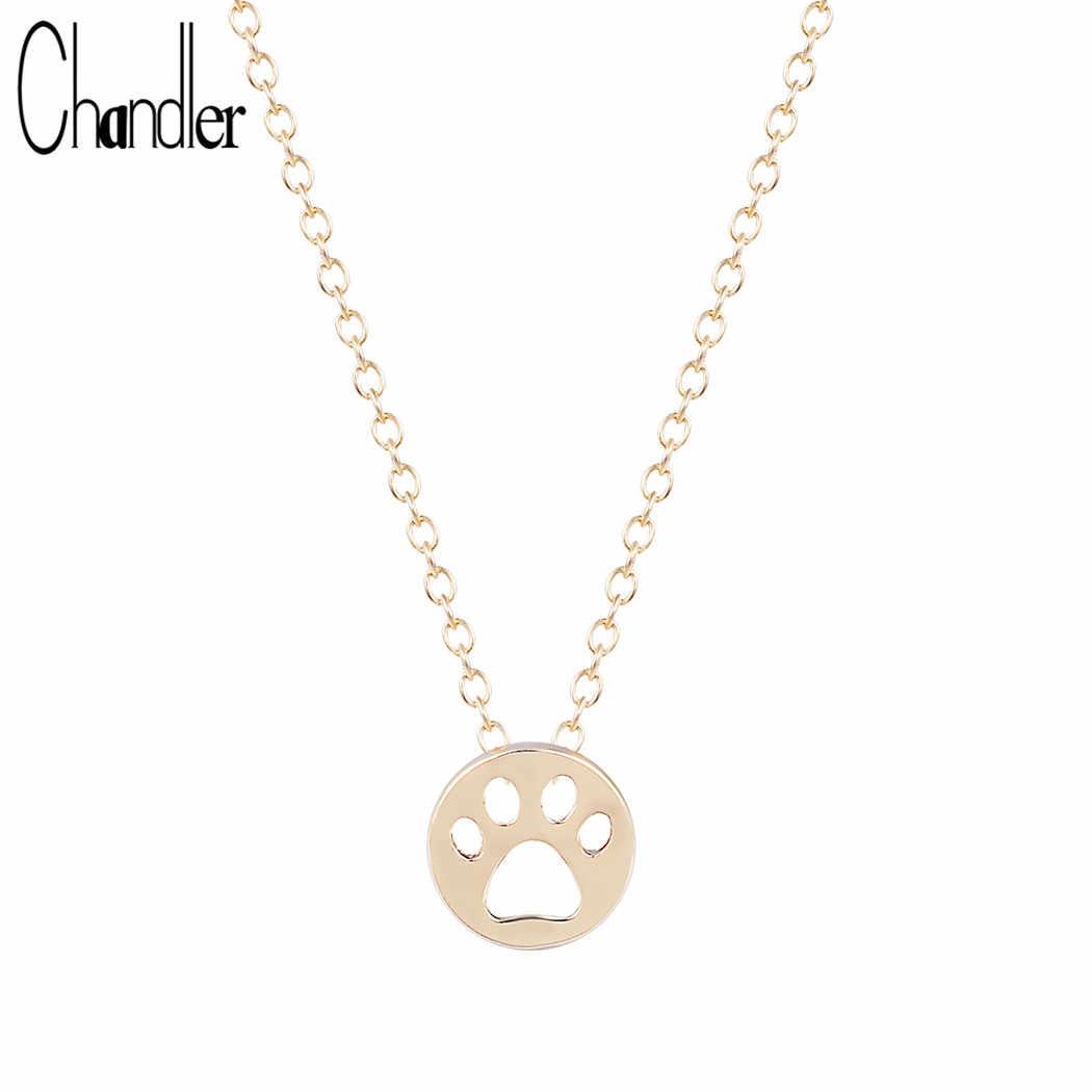 8571d14bc404 Chandler chapado en oro plata lindo gato perro huella collar de cadena y  colgante para las