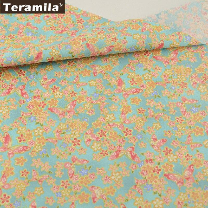 Teramila синий и золотой 100% хлопок Ткань Жир Квартал Домашний текстиль Материал кровать Простыни лоскутное см цветочный Дизайн