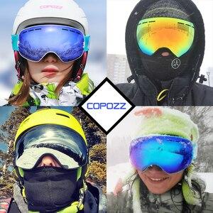 Image 3 - Брендовые лыжные очки COPOZZ, двухслойная противотуманная большая Лыжная маска UV400, очки для катания на лыжах, снегу, мужские и женские очки для сноуборда, аналогичные профессиональные