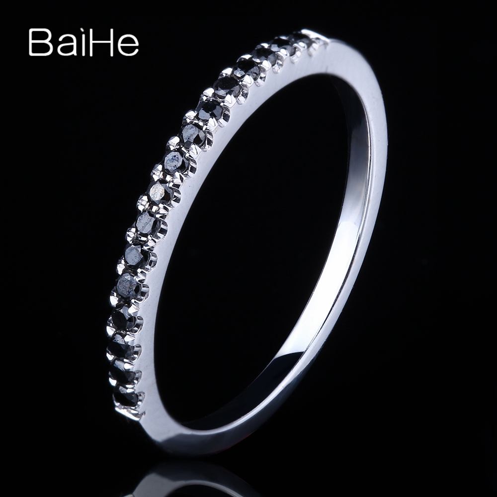 BAIHE Solid 10K White Gold(AU417) Total 0.15ct Round cut 100% Genuine Black Diamonds Engagement Women Fashion Women Gift Ring