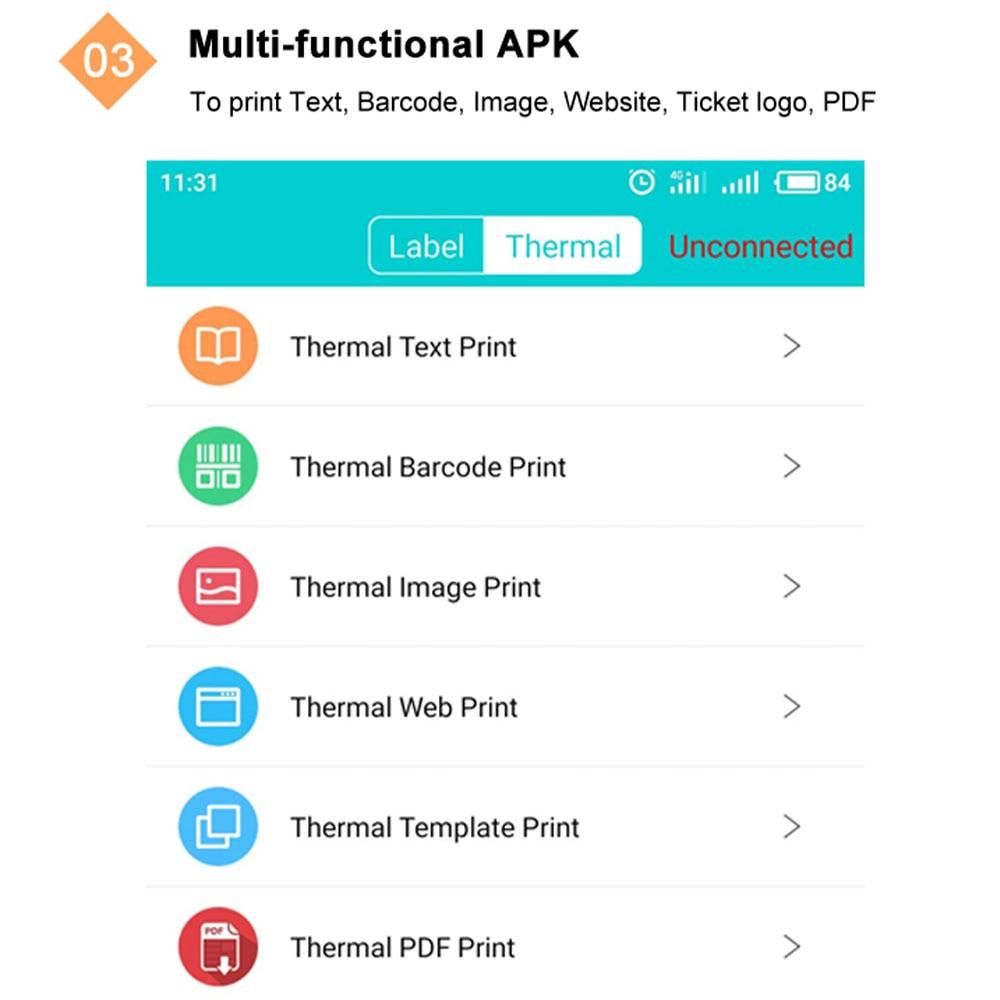 IssyzonePOS USB Bluetooth Wifi Thermal Printer Support Arabia Thai Printing 80mm Pos Web PDF Barcode Mobile Mini Printer IMP013