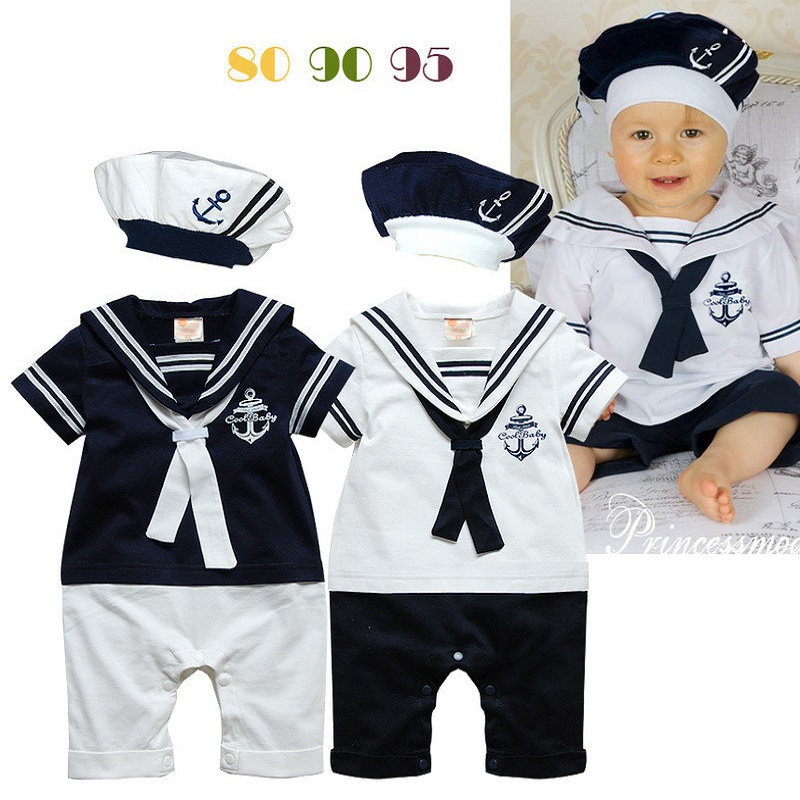 Baby Sailor Rompers Navy Collar Short Sleeve Romper Hat 2PCS Set Baby Boy Summer Clothing Roupa De Bebe Menino newest 2016 summer baby rompers clothing short sleeve 100