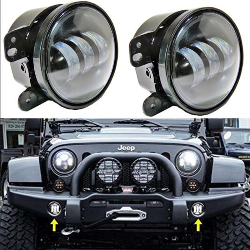 Plug and Play FOR Jeep LED fog light Driving lights 4 inch Auto DRL Lighting led headlamp for Offroad JK Jeep Wrangler Trucks black chrome round 75w high low beam drl led auto headlight driving fog lights for jeep wrangler hummer h1 h2 offroad