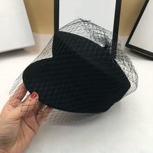Chapeaux dhiver pour femmes, chapeau en laine, visière en gaze à dessus plat, mode