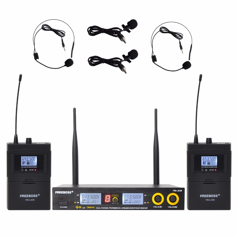 Freeboss FB U09H2 Dual Way Digital UHF Wireless Microphone with 2 Lapel 2 Headset microphone 2