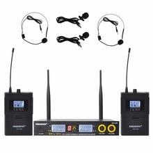 Freeboss FB U09H2 Dual Chiều Kỹ Thuật Số Micro Không Dây UHF với 2 Ve Áo 2 Tai Nghe micro (2 Bodypack Phát)