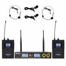 Freeboss FB U09H2 듀얼 웨이 디지털 UHF 무선 마이크 2 Lapel 2 헤드셋 마이크 (2 Bodypack 송신기)