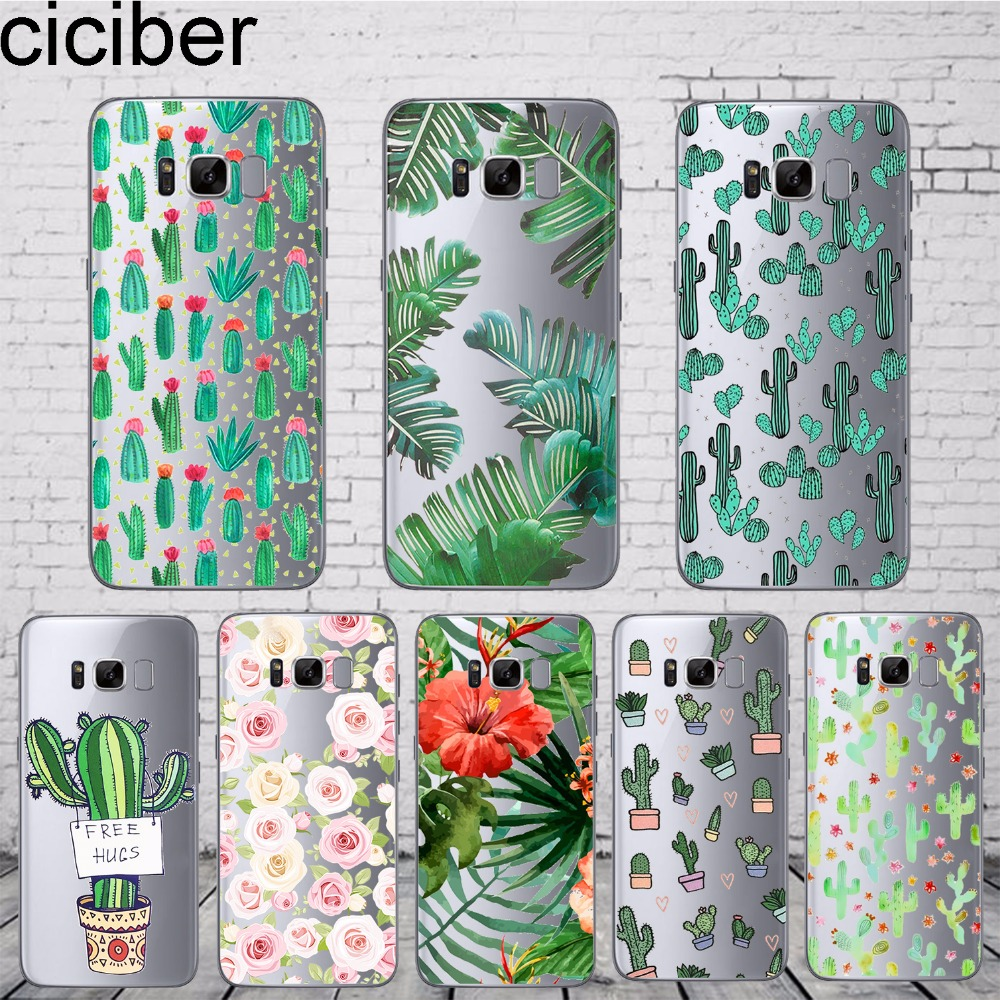 ciciber Tropical Plants Cactus Leaves Flower Phone Case For Samsung Galaxy S7 S9 S6 Edge S8 Plus Soft Silicone TPU Cover Coque