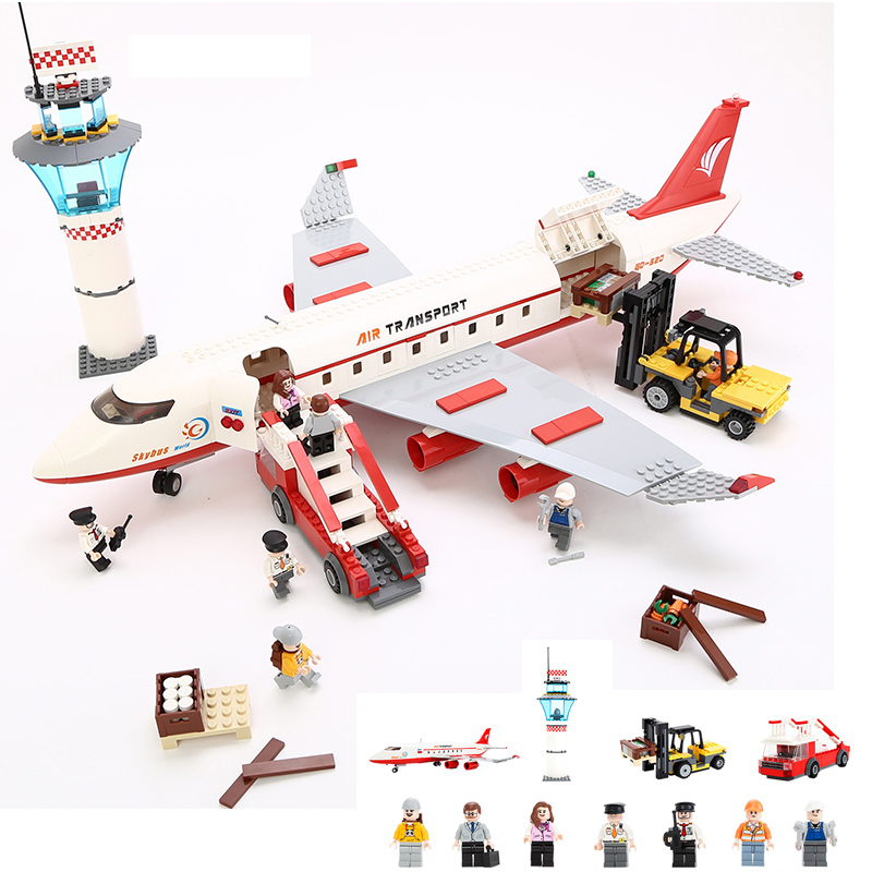 KAZI Large Passenger Aircraft DIY Model Building Block Sets 856pcs Bricks Collection Gifts Toys For Children Learning hot city series aviation private aircraft lepins building block crew passenger figures airplane cars bricks toys for kids gifts