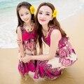 Ropa para la madre e hija de una pieza de moda vestido de verano de la familia bohemia nacional del vestido lleno playa de verano de algodón tendencia