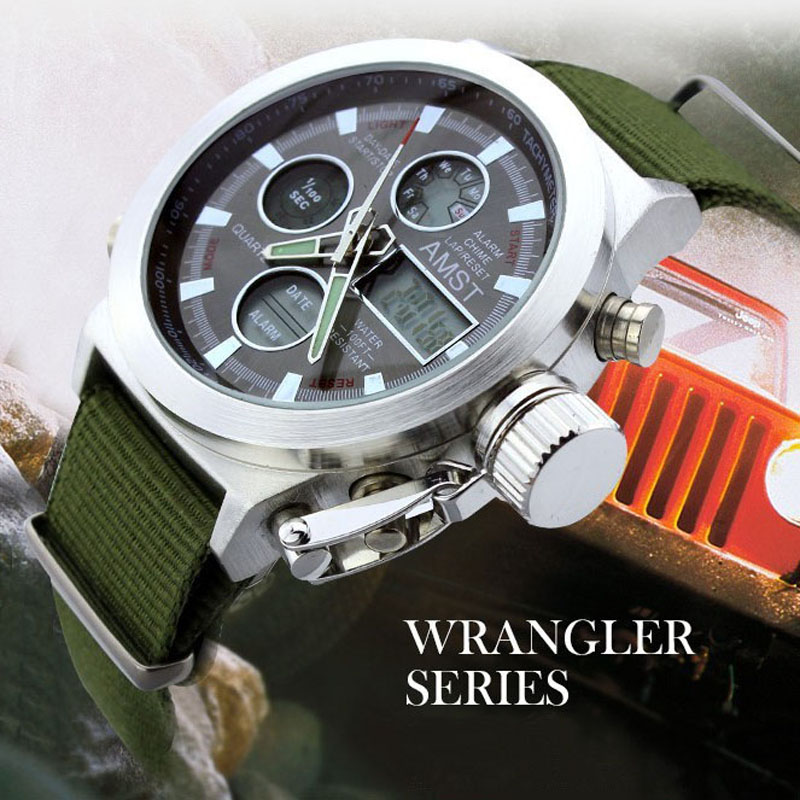 2016 Watches Men Luxury Brand AMST Dive LED Watches Sport Military Watch Genuine Quartz Watch Men Wristwatches Relogio Masculino