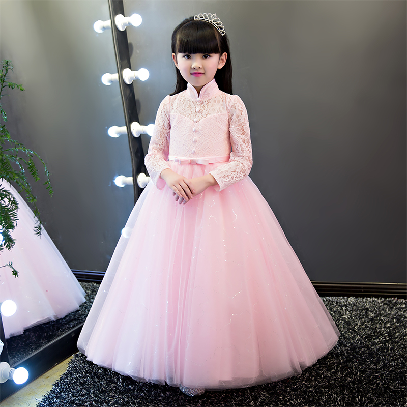 2017Luxury Embroderied Lace Girl Dress Children Kids Beautiful Wedding Party Dress Girl Formal Party Pageant Long Princess Dress 1pcs power hd 8315tg 16kg high torque metal gear digital servo suitable for bigfoot car 0 16 sec 4 8v 0 14 sec 6 0v
