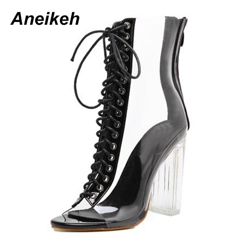 Femmes Sandales Talons black De Chaussures Concise Mode Haute Sangle Apricot Boucle Aneikeh Pvc Cheville Plexiglas Cristal Classique Clair pwdBnqC