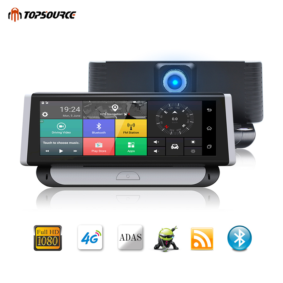 TOPSOURCE 6.86 Inch DVR 4G ADAS Car Camera GPSs