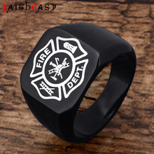 Faitheasy Fashion Men's Stainless Steel Ring Charm Firefighter Design US Army Theme Punk Jewelry Titanium Steel Rings For Men