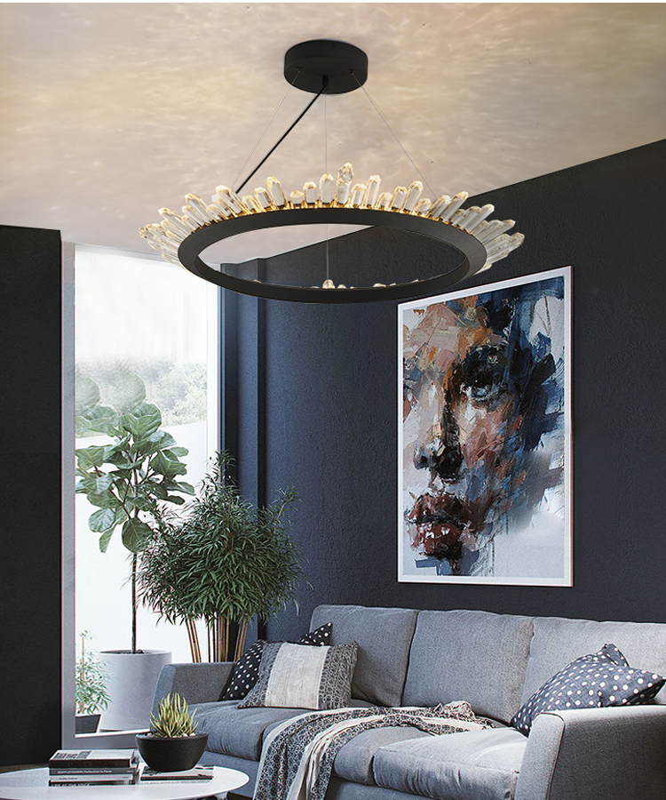 Phube Lighting Modern LED Pendant Light Creative Imitation Glacier Crystal Pendant Light Bar Restaunt Living Room Lighting