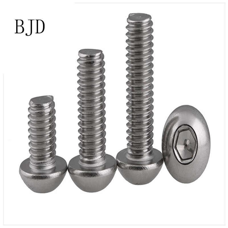 100 piezas M2 tornillos de 2mm ISO7380 interior de acero inoxidable 304 seis ángulo tornillos de cabeza redonda pernos tornillos de cabeza copa redonda cabeza De Seta