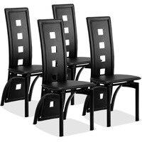 Giantex набор из 4 обеденных стульев ПВХ кожа железная рама высокая задняя мебель для дома белая Новая домашняя мебель HW59220