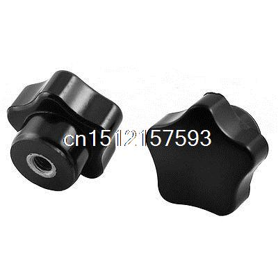 20pcs M6 6mm Female Thread Dia Screw On Type Star Knob Black 5x 46mm high 25mm thread length screw on type star shape knob