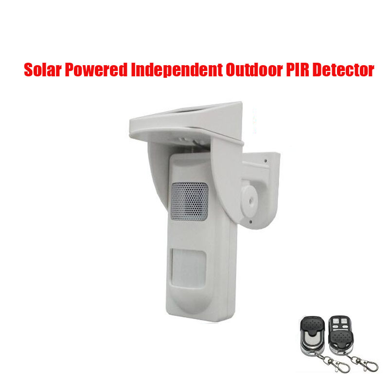 Free shipping Standalone Outdoor Solar powered Infrared Passive PIR Alarm Detector Sensor w Sound&Flash Reminder