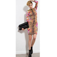 Floral And Leopard Pattern Long Sleeves Bandage Bodycon Print Dress Holiday Dresses Junior Dresses Sexy Club
