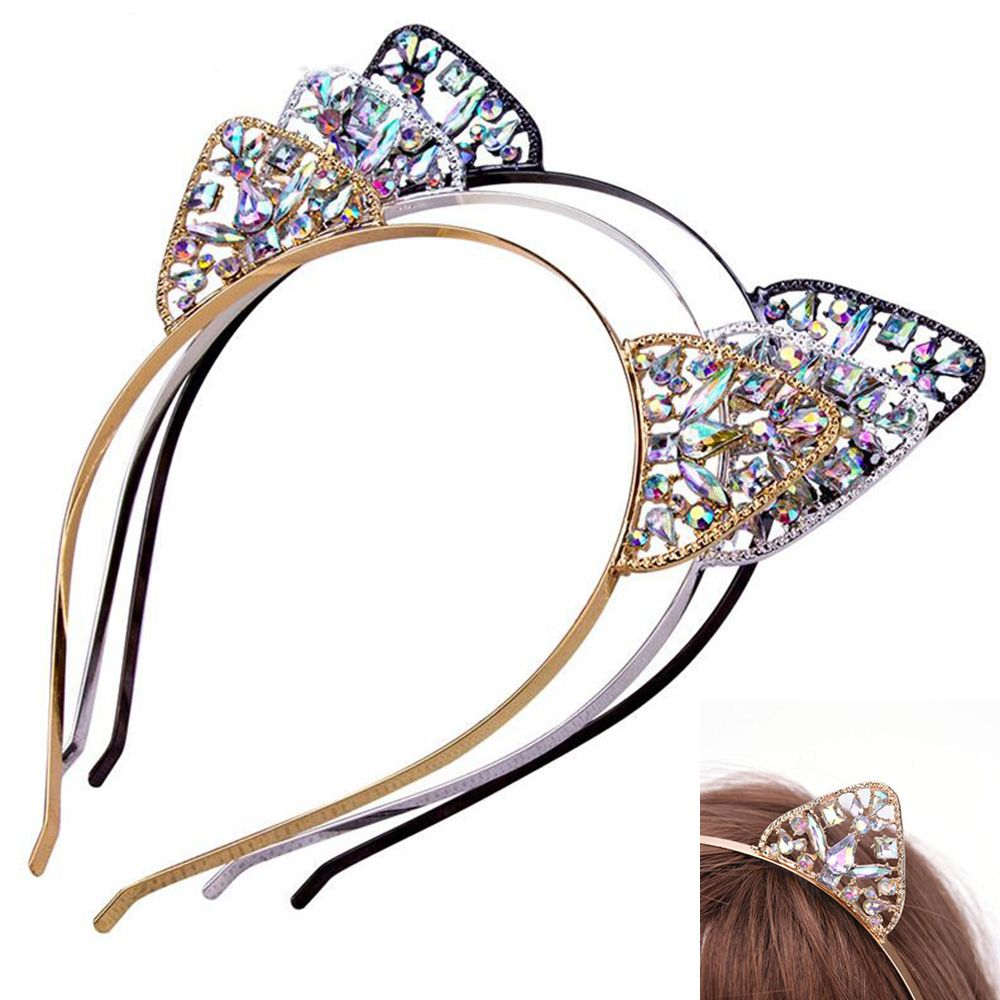 Crystal Rhinestone Cat Ear Headbands Novelty Metal Lace Hairband Rhinestone Headdress for Women Girls Costume Cosplay Fancy Gift-in Women's Hair Accessories from Apparel Accessories on AliExpress