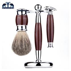 Grandslam 3in1  Kit de afeitar de seguridad Set de brochas de afeitar Pure Badger Hair Portacepillos de afeitar con soporte de aleación de afeitar + 10 piezas de cuchillas gratis