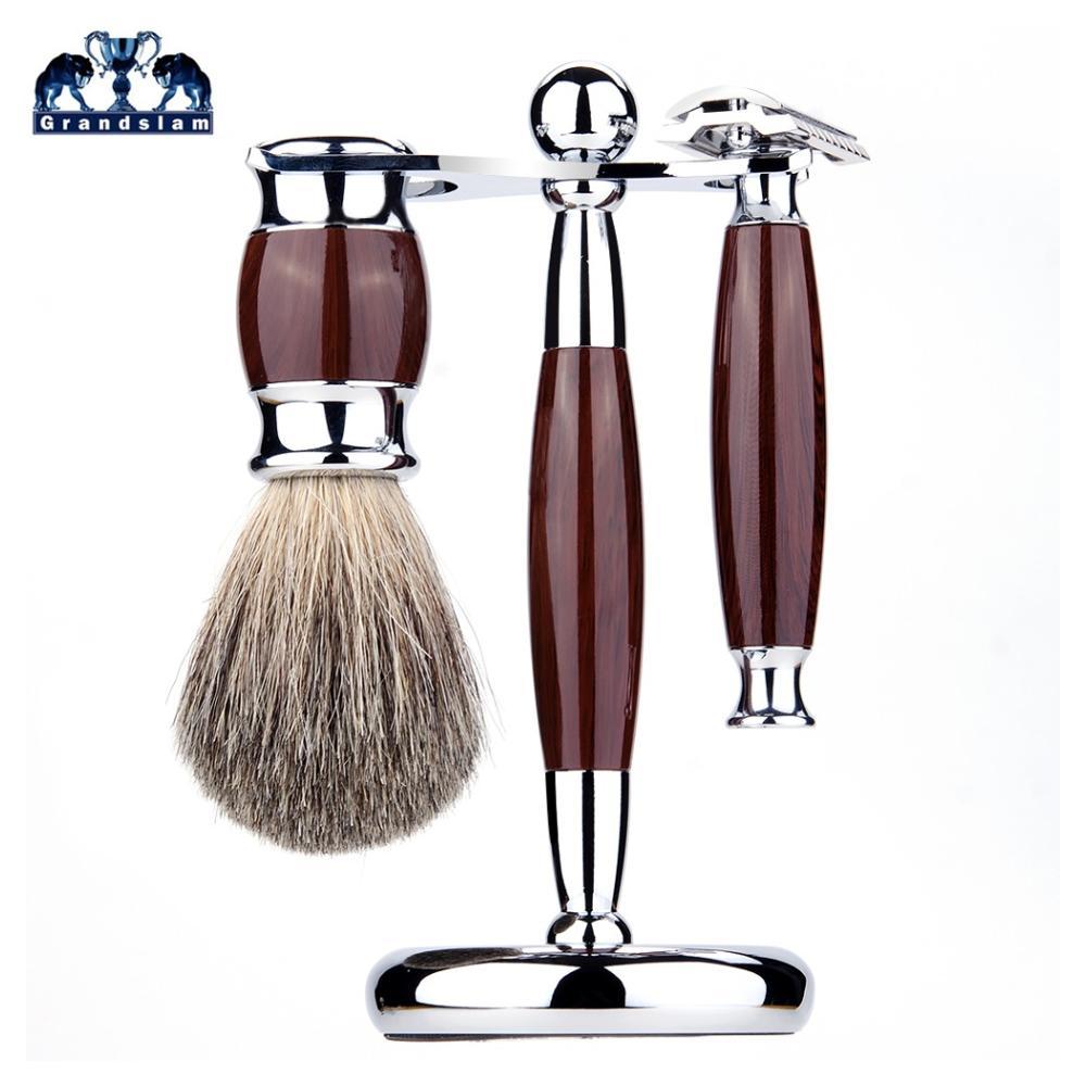Grandslam Men Shaving Manual Razors Set Adjustable Double Edge Blade Razor Pure Badger Shaving Brush Shaver Stand Holder Kit