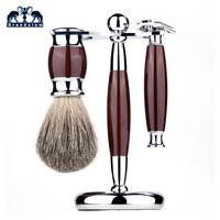 Grandslam Men Shaving Manual Razors Set Adjustable Double Edge Blade Razor Pure Badger Shaving Brush Shaver Stand Holder Kit