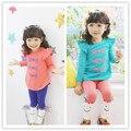 2015 Primavera Meninas roupas de Bebê Conjunto Roupa Da Menina Das Crianças de Flor arco Bonito Terno 2 PCS Crianças Twinset Top T Shirt + Calças Leggings