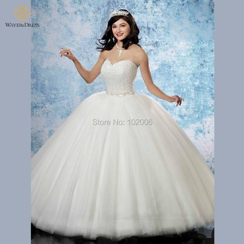 2016 Romantic Princess Ball Gown Puffy Wedding Dresses Sweetheart ...
