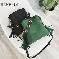 HANEROU Brand Tassel Shoulder Bags Female Vintage 2018 Women Bucket Bag Scrub Pu Leather Tote Lady