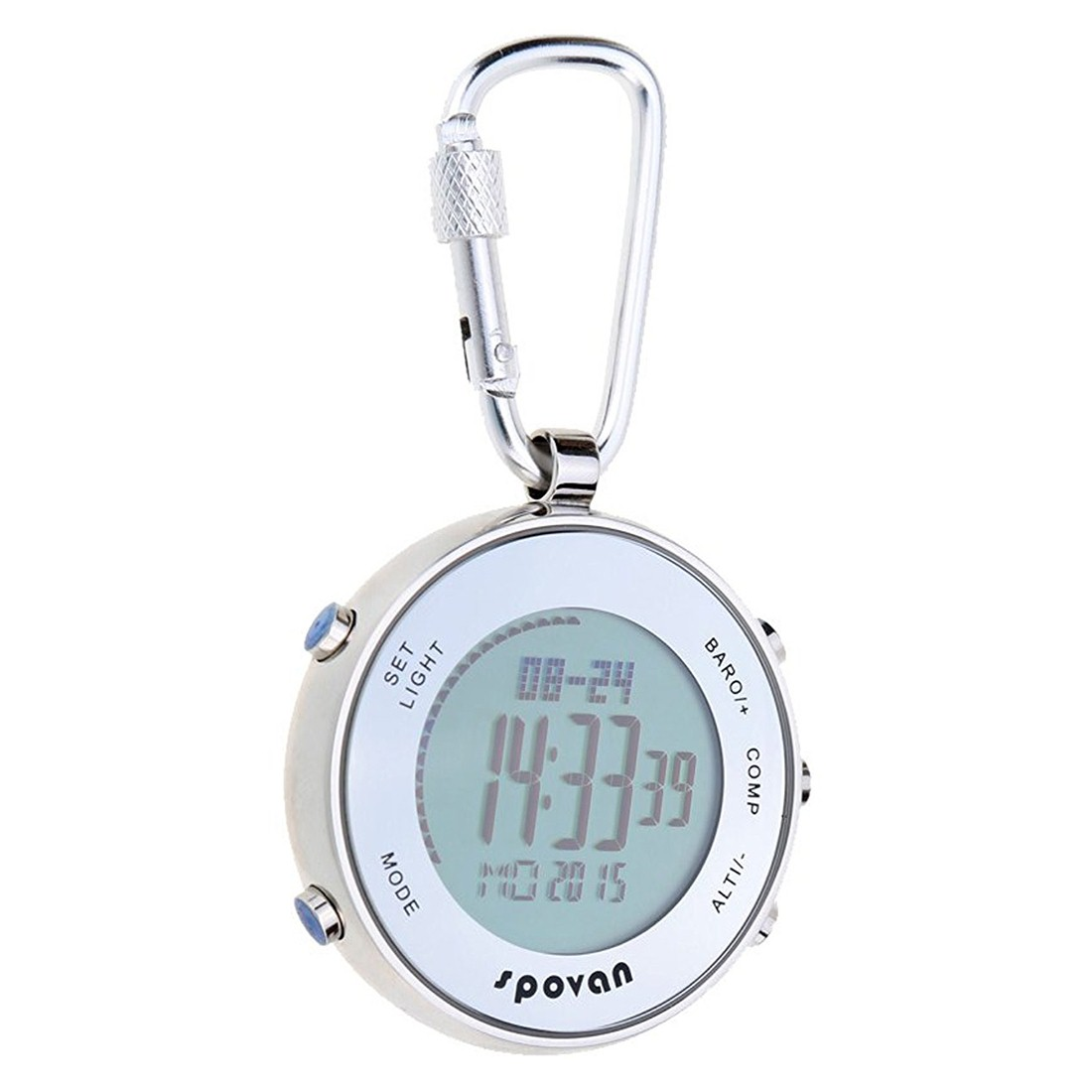 Outdoor Sports Multifunctional Digital Pocket Watch with Carabiner Hook & Elastic Rope outdoor sports medium size carabiner red silver