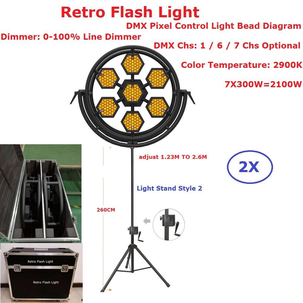 2XLot Flightcase Pack Stage Strobe Lights 7X300W Halogen Lamp Retro Flash Light Hexagon Or Round Optional 1/6/7 DMX Channel