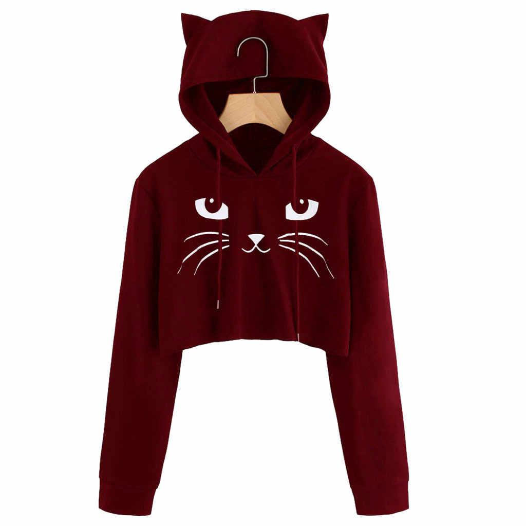 e0f625875 Mujer oreja de gato de manga larga Sudadera con capucha suéter Tops blusa  abrigo Casual mujeres sudaderas con capucha Sudadera Mujer Venta caliente