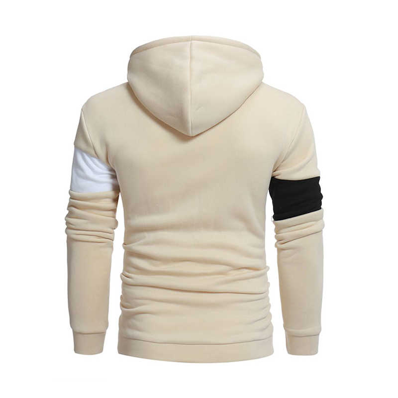 Модные для мужчин тонкий толстовка с капюшоном Пальто Куртка зимняя теплая верхняя одежда повседневные Лоскутные цвет блок пулове