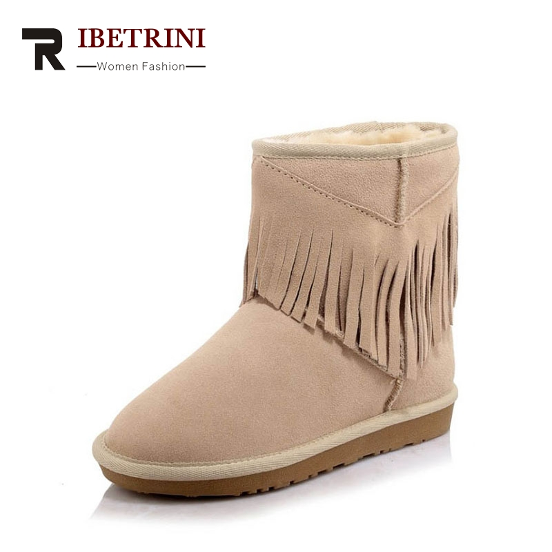 RIBETRINI 2017 Winter Concise Cow Suede Warm Ankle Snow Boots Slip-on Casual Woman Shoes With Platform Large Size 34-43 e toy word winter flock loafers casual slip on warm women shoes soft flats suede platform shoes woman size 35 40 xwd4157