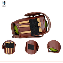Caiton Genuine Leather small Golf Ball Bag Golf small tools packet Includes 2 hollow spheres, 3 Tee, and a Divot Fork