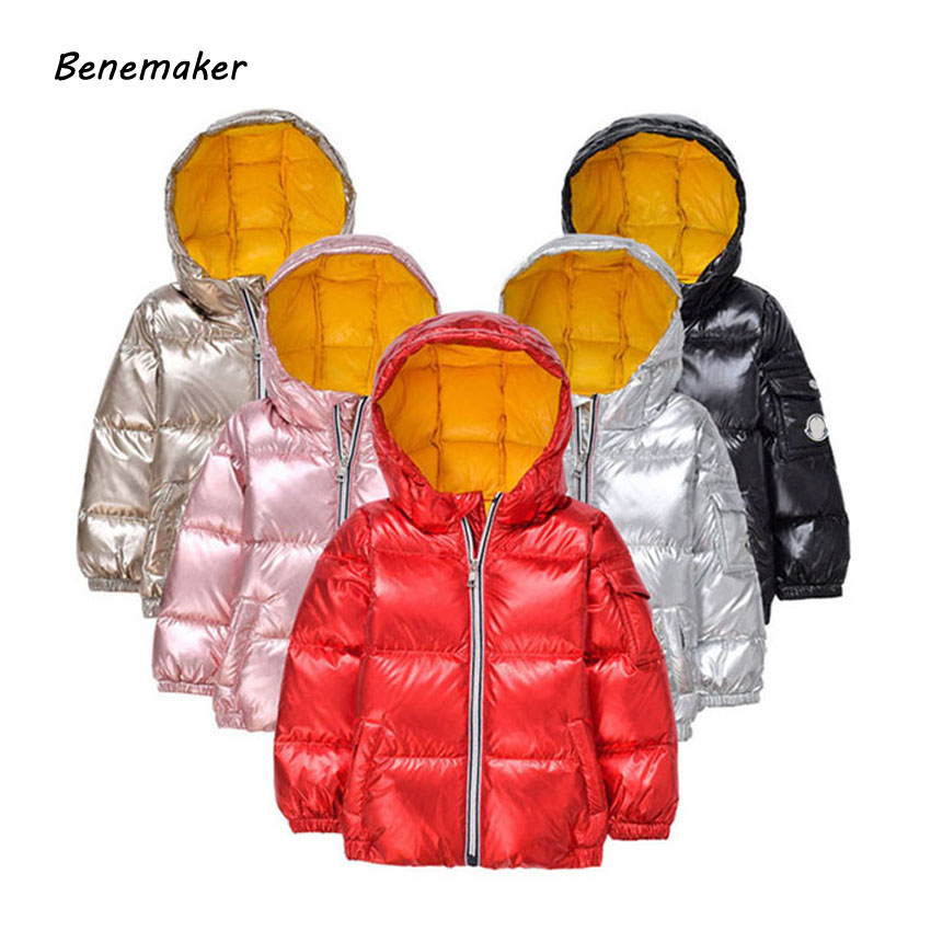 Benemaker Children Thick Winter Duck Down Jackets For Girls Boys Sports Coats Overalls Kids Baby Hooded Clothing Outerwear JH095 buenos ninos thick winter children jackets girls boys coats hooded raccoon fur collar kids outerwear duck down padded snowsuit
