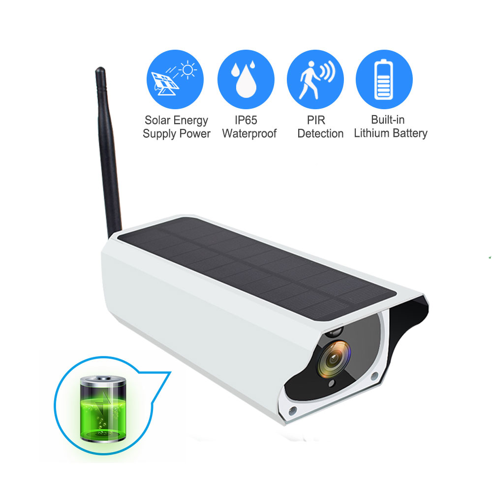 Solar WiFi IP Camera 1080P HD Outdoor Charging Battery Wireless Security Camera PIR Motion Detection Bullet Surveillance CCTV title=