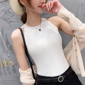 11242 Real-time photo of new round collar pure-color knitted suspender vest 15 4