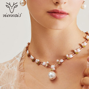 Image 3 - Viennois Fashion Pearl Jewery Set Rose Gold Flower Design Simulated Pearl Necklace and Earring Jewelry Set For Women Bridal Set