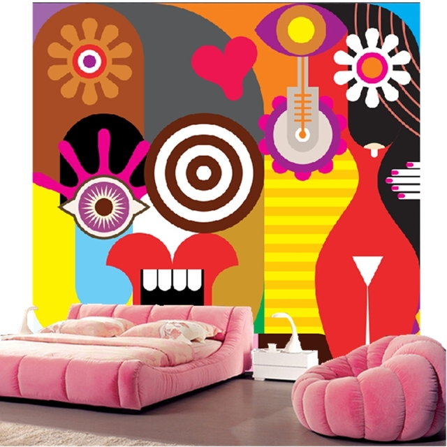 Custom Papel De Parede Infantil Two Women Abstract Cartoon For Childrens Room Living TV
