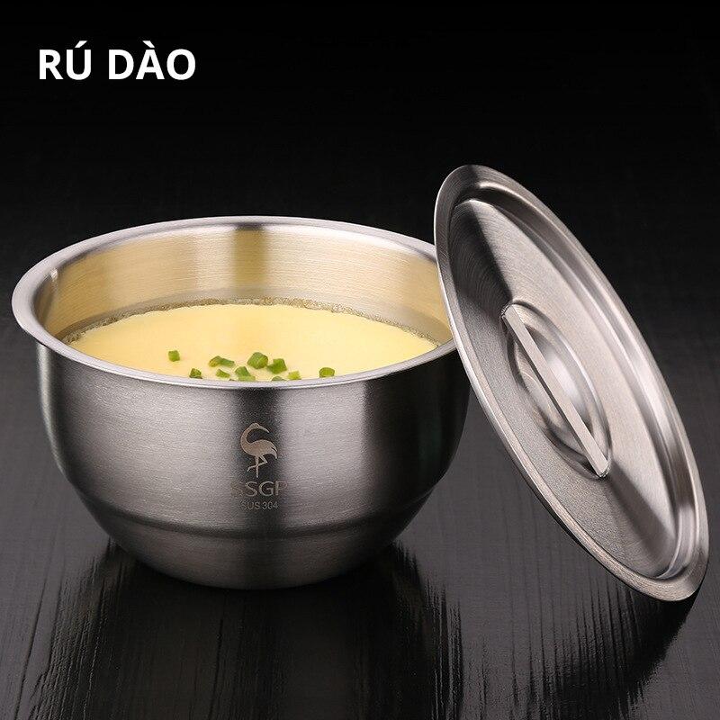 Прочная Высококачественная практичная миска из нержавеющей стали 304 с крышкой, Салатница, Паровая миска для яиц, кухонные принадлежности, 1 шт.|Чаши|   | АлиЭкспресс